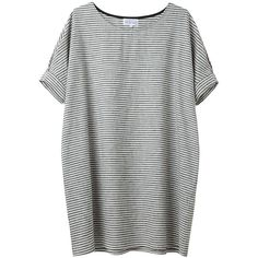 Bamboo by United Bamboo Striped Baggy Dress (16.725 RUB) ❤ liked on Polyvore featuring dresses, tops, shirts, t-shirts, oversized dress, sleeved dresses, striped dresses, boat neck dress and striped tee shirt dress