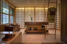 18 Astonishing Japanese Style Bathroom Design Ideas: Asian Styled Bathroom  With Sleek Contemporary Tones