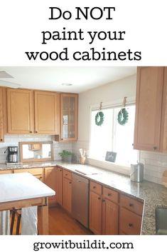Updating Oak Cabinets, Pine Kitchen Cabinets, Painting Oak Cabinets, Kitchen Redo, Wood Cabinets, Kitchen Design, Oak Kitchen Remodel, Kitchen Paint, Kitchen Backsplash
