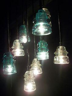 Creative pendant lights on pinterest glass insulators for Telephone insulator light fixture