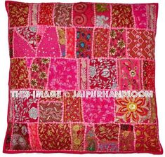 Shop Decorative Vintage Throw pillow Embroidered Pink Sofa Pillows Cushions Ethnic Cotton pillows on sale. Use these handmade fair trade cushions to decor home. Indian Pillows, Boho Throw Pillows, Floral Pillows, Throw Cushions, Sofa Pillows, Decorative Throw Pillows, Sofa Throw, Cushions Ikea, Embroidered Pillows