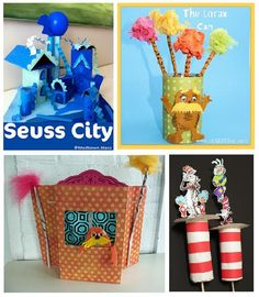 Fun Dr. Seuss Craft Ideas- I love the Lorax can.  Maybe stick it to desks with velcro.
