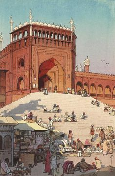 """Japanese Art Print """"Jami Masjid Delhi"""" from the India and Southeast Asia Series by Yoshida Hiroshi Japanese Prints, Japanese Art, Hiroshi Yoshida, Ligne Claire, Poster Prints, Art Prints, Block Prints, Linocut Prints, Japanese Painting"""