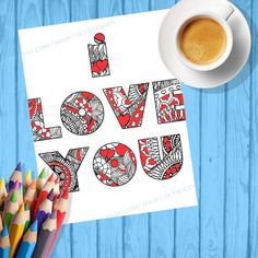 Adult coloring pages I LOVE YOU coloring page Kids by olyadesign