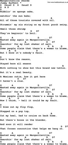 Song Lyrics with guitar chords for Margaritaville