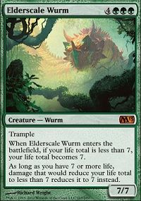 Trample  When Elderscale Wurm enters the battlefield, if your life total is less than 7, your life total becomes 7.  As long as you have 7 or more life, damage that would reduce your life total to less than 7 reduces it to 7 instead. $1.99
