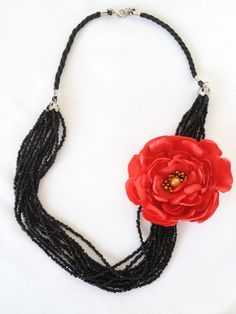Unique multi strand black seed bead statement by hobitique on Etsy