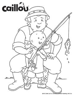Print & Color - Caillou, Fishing with Grandpa Coloring Sheet Activity! #GrandparentsDay