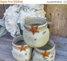 WEDDING SALE 3 Rustic Jars -  Shabby Chic Taupe Upcycled Candle Votive Holders, Centerpieces, Decor