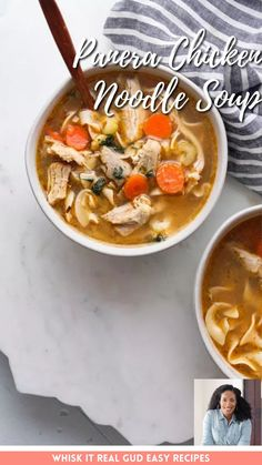 Panera chicken noodle soup in under an hour! I can help you bring some life back into a rotisserie chicken, or brighten up some skinless, boneless thighs with nothing more than some standard vegetables, a few herbs and seasonings, broth or homemade stock and a package of cheap egg noodles. Easy Dinner Recipes, Soup Recipes, Chicken Recipes, Easy Meals, Boneless Chicken, Rotisserie Chicken, Vegetable Soup Healthy, Tomato Bisque, Seafood Gumbo