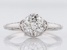 Filigree Jewelers :: Antique Engagement Ring Art Deco .93 Old European Cut Diamond in 14k White Gold & Platinum-Minneapolis, Minnesota www.filigreejewelers.com