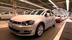 Production of the Volkswagen Golf made at the massive Wolfsburg plant in Germany . The Golf is an automobile model launched by Volkswagen in 1974 to brin. Porsche, Audi, Ducati, Lamborghini, Production Line, Volkswagen Golf, Golf Courses, Building, Wolfsburg