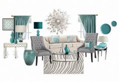 A modern mix of teal, grey and white living room with mirrored furniture.- Minus the Zebra. This is not a whore house!
