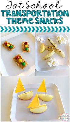 Super cute transportation themed snacks for tot school, preschool and kindergarten classrooms!