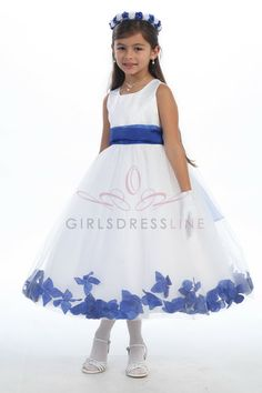 Details about ROYAL BLUE IVORY WEDDING PARTY FLOWER GIRL DRESS 1 ...