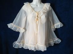 60's Vintage Peach Nylon Chiffon Ruffle Baby Doll Pin Up Peignoir Panty Nighty S #RN16711Unbranded