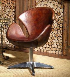 Vintage Echtleder Sessel Retro Ledersessel Drehsessel Loft Sessel Lounge…