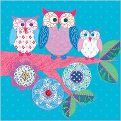 'Twit Twoo' by Clare Maddicott Owl Wallpaper, Flowery Wallpaper, Owl Quilts, Applique Quilts, Penny Rug Patterns, Felt Mask, Owl Family, Owl Art, Cute Owl