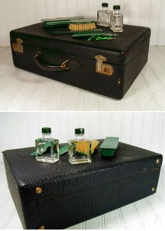Retro Black Leather Suitcase with Green Bakelite by DivineOrders, $63.00