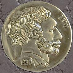MIKE CIRELLI - BERT - 1930 BUFFALO PROFILE Hobo Nickel, Buffalo, Classic Style, Coins, Carving, Profile, Metal, Art, User Profile