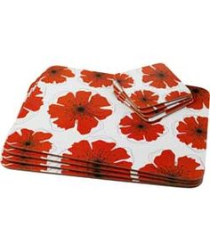 Buy Poppies Placemat and Coaster Set - White at Argos.co.uk, visit Argos.co.uk to shop online for Table cloths, placemats and textile accessories