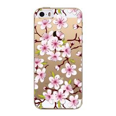 Fundas Mobile Phone Bag For iphone 4 4S Pink TPU Slim Sweet Cherry Blossom For Summer Transparent Silicon Cell Phone Cases Cover