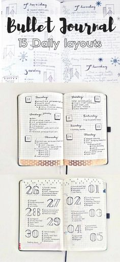 Creative Organization: 15 Different Simple Daily layouts for the Bullet Journal. Simple planner page inspiration. Weekly bujo spreads that are easy to copy. Bullet Journal Agenda, How To Bullet Journal, Bullet Journal Spread, Bullet Journal Inspo, My Journal, Journal Pages, Bullet Journal Daily Log Ideas, Journal Diary, Bullet Journal Assignment Tracker