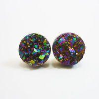 Rainbow Flame Druzy Stud Earrings n55 by AstralEYE on Etsy