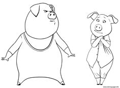 Print Pigs From Sing Coloring Pages Gunter And Rosita