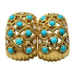1970s Sabbadini Turquoise Diamond Gold Earrings