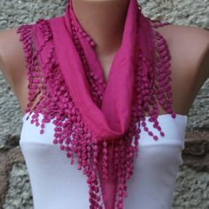 Fuchsia Cotton Scarf Headband Necklace Cowl with by fatwoman, $13.50