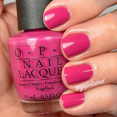 OPI Kiss Me On My Tulips. A gorgeous bright pink polish. A great polish for spring and summer. Pink Polish, Opi Nail Polish, Opi Nails, Nail Polish Colors, Spring Nails, Summer Nails, Mani Pedi, Pedicure, Creative Nails