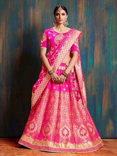 f6522c66c1 Exotic pink partywear lehenga choli online for women which is crafted from  banarasi silk fabric with
