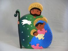 Wooden Nativity, hand made decoravie puzzle.