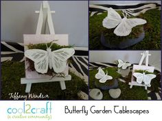 I LOVE butterflies :) For anyone planning a wedding or shower, here's a fun way to make placecard holders or favor boxes. Butterflies Garden Tablescapes by Tiffany Windsor http://cool2craft.com