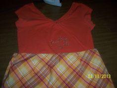 Clothing Rhinestone Baby girl Orange V Neck Shirt Skirt Designer Fashion Decor