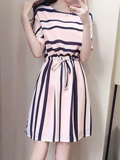 Round Neck Drawstring Striped Skater Dress