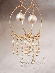 Bridal chandelier Earrings, Pearl Drop Gold Earrings, Wire