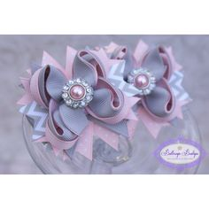 Set of 2 Mini Pink and Grey Chevron Hair Bows Mini Layered Bow ($14) ❤ liked on Polyvore featuring accessories, hair accessories, barrettes & clips, light purple, pink hair bow, rhinestone hair accessories, bow hair clips, pink hair clips and hair clip accessories