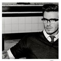 David Beckham looks sexy in glasses