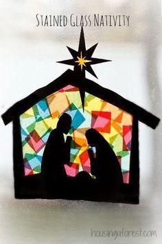 Presepe artistico da realizzare con i bambini, bella attività da proporre come laboratorio a scuola e a casa! Appendendolo a una finestra si ottiene l'effetto di una vetrata!