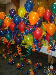 Colorful balloon centerpiece