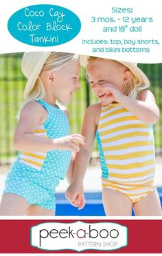 (http://www.peekaboopatternshop.com/coco-cay-colorblock-tankini/) comes in doll sizes too