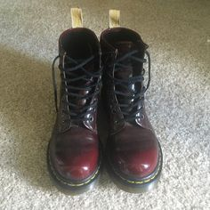 Vegan Docs Cherry Red Vegan Leather. Worn only a handful of times! Dr. Martens Shoes Lace Up Boots