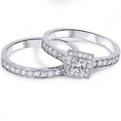 Amazon.com: .80CT Princess Cut Diamond Halo Engagement Ring Set 10K White Gold: Jewelry
