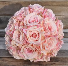 Simple Pink Rose Bouquet in silk flowers with pink satin ribbon and lace overlay.  Wedding Bouquet, Bridal Flowers, Wedding Decoration.