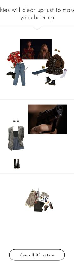 """""""skies will clear up just to make you cheer up"""" by haomind ❤ liked on Polyvore featuring Dr. Martens, ...Lost, netflix, tvseries, Fleur du Mal, Chanel, Vetements, Crate and Barrel, Charlotte Russe and PRPS"""