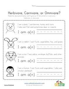Read the description of each animal and figure out if the animal is a carnivore, herbivore, or omnivore. Worksheets For Kids, Science Worksheets, Printable Worksheets, Herbivore And Carnivore, Animal Classification, Animal Habitats, School School, Middle School, Animal Riddles