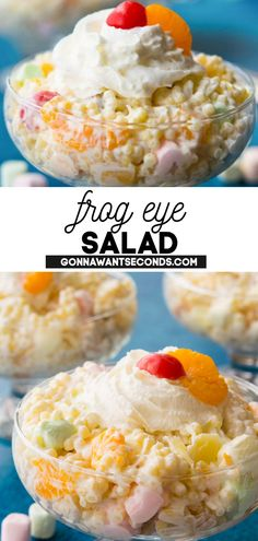 *NEW* Spread the smiles and show the love with this intensely delicious Frog Eye Salad. This light and creamy concoction is full of sweet dreamy flavor with colorful little marshmallow clouds, bits of shredded coconut and plenty of fruit. #FrogEyeSalad #DessertSalad #Salad #Desserts #NoBakeDesserts #Appetizer #SideDishes #Coconut #Easter #SpringDesserts #SummerDesserts Yummy Treats, Delicious Desserts, Yummy Food, Frog Eye Salad Recipe, Great Salad Recipes, Ambrosia Salad, Spring Desserts, Dessert Salads, Thing 1