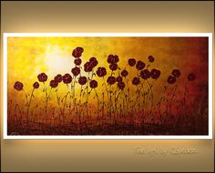 Evoke the soothing feeling of an 'Autumn Valley' with this abstract art painting. Showcasing lovely burgundy flowers, this large original canvas art is a focal point. Canvas Paintings For Sale, Canvas Art, Abstract Paintings, Large Abstract Wall Art, Painting Gallery, Autumn, Valley Flowers, Acrylics, Diy